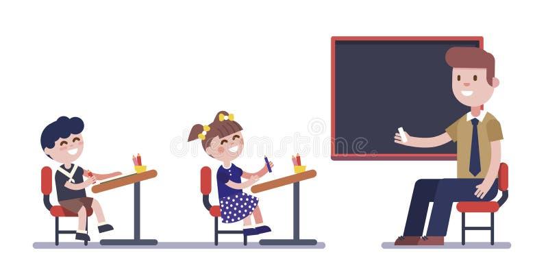 Учитель или гувернер изучая с группой в составе дети иллюстрация штока