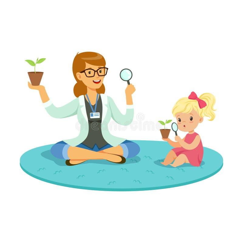 Учитель и маленькая девочка сидя на поле и уча о заводах во время урока ботаники, preschool воспитательном иллюстрация штока