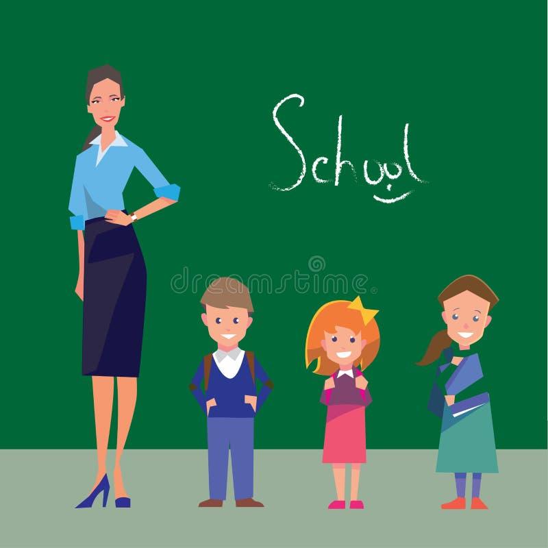 Учитель и 3 студента основных рангов бесплатная иллюстрация