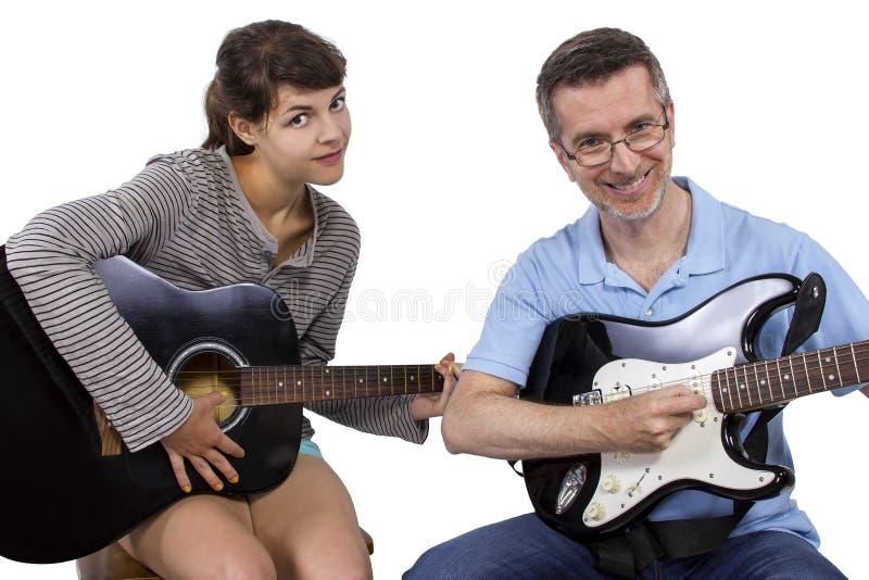 Учитель музыки и студент стоковое фото rf