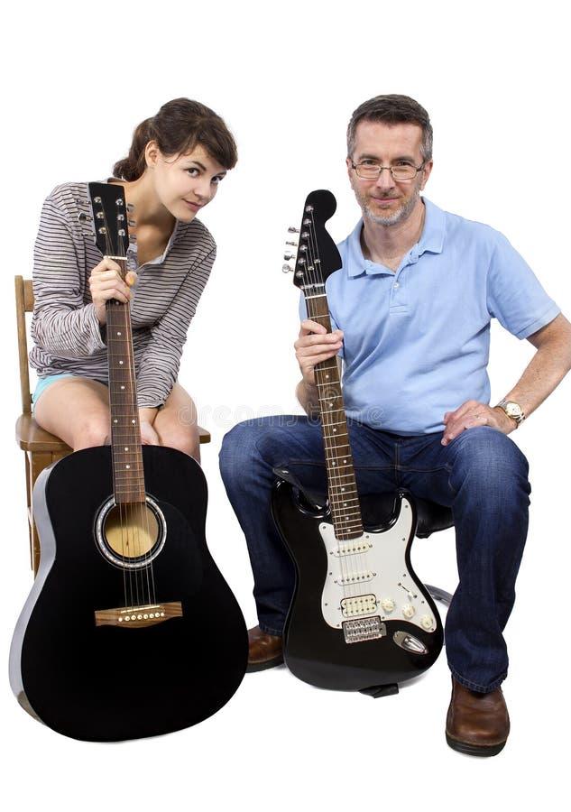 Учитель музыки и студент стоковые изображения rf