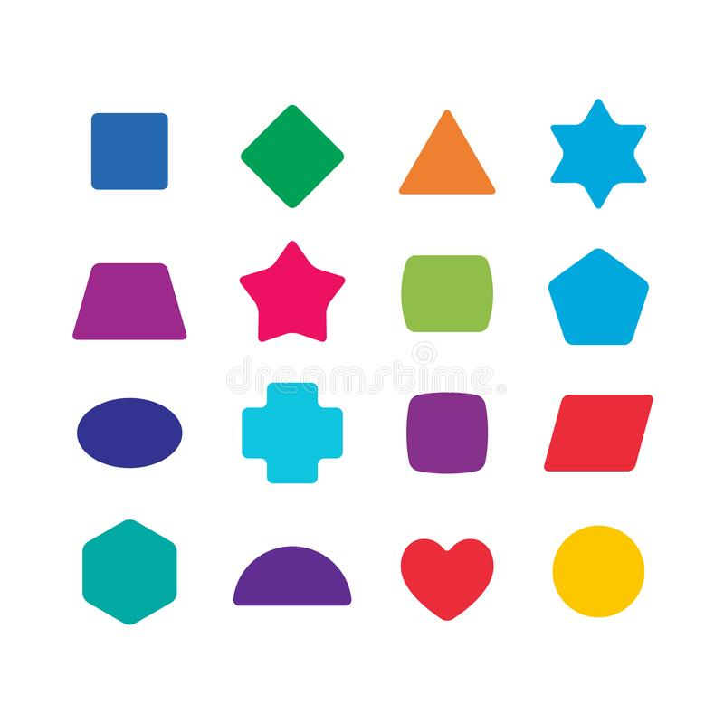 Учить забавляется формы цвета установленные для образования детей иллюстрация штока
