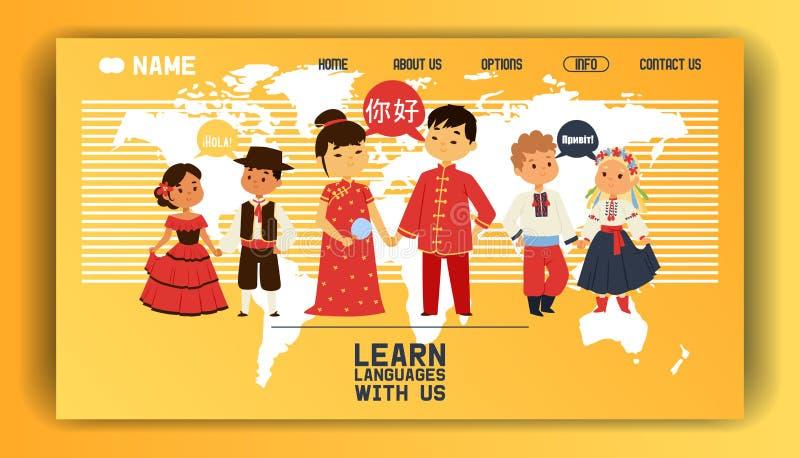 Учить знание людей языков онлайн изучая приземляясь иллюстрации вектора страницы Международная концепция перевода бесплатная иллюстрация