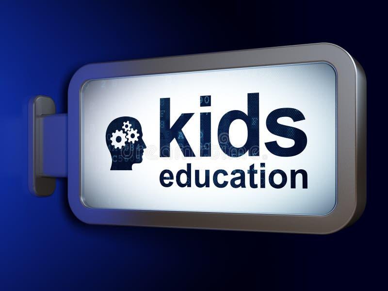 Учить концепцию: Дети образование и голова с шестернями на предпосылке афиши иллюстрация вектора