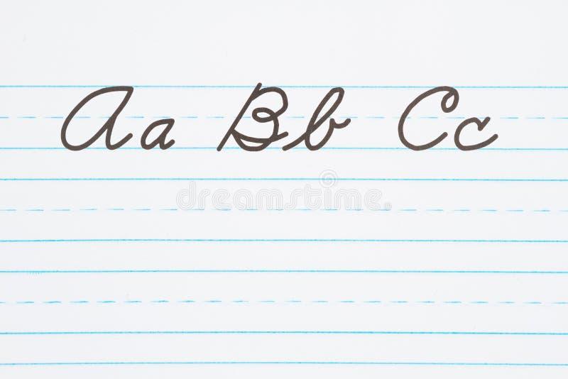 Учить написать cursive литерность стоковое изображение rf