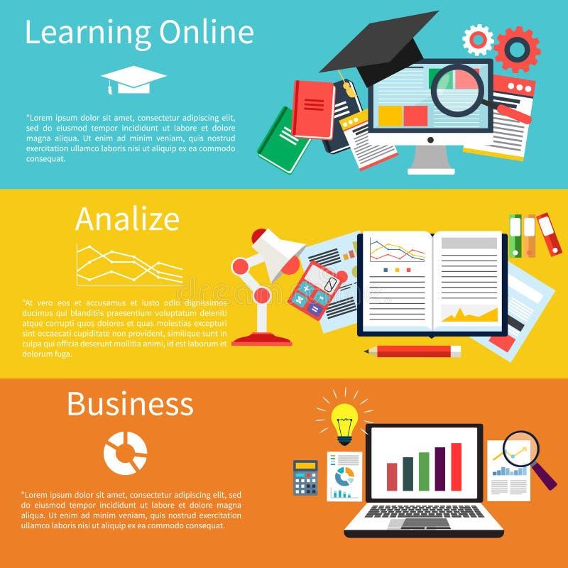 Учить онлайн, analize и дело иллюстрация вектора