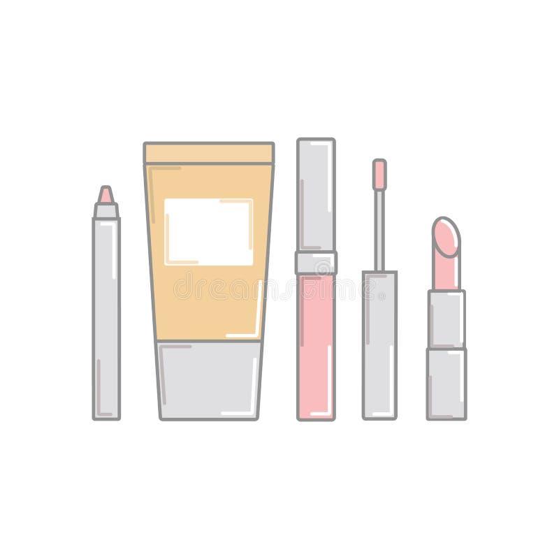 учредительство Лоск губы pomade eyeliner Косметика установите для mak бесплатная иллюстрация