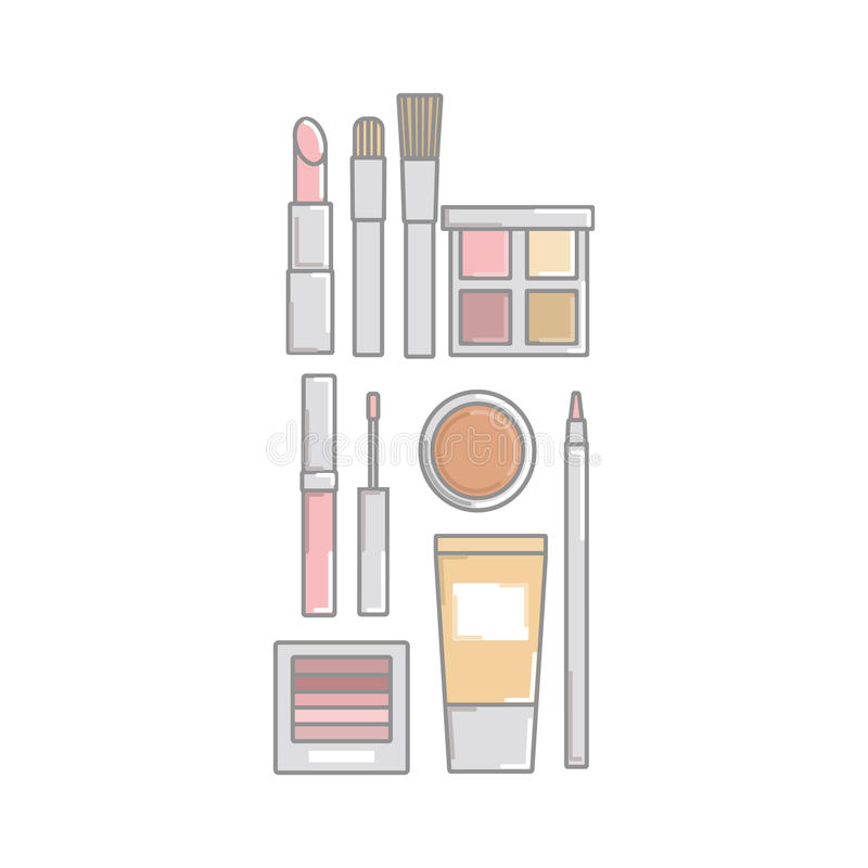 учредительство Лоск губы pomade eyeliner Косметика установите для mak иллюстрация вектора
