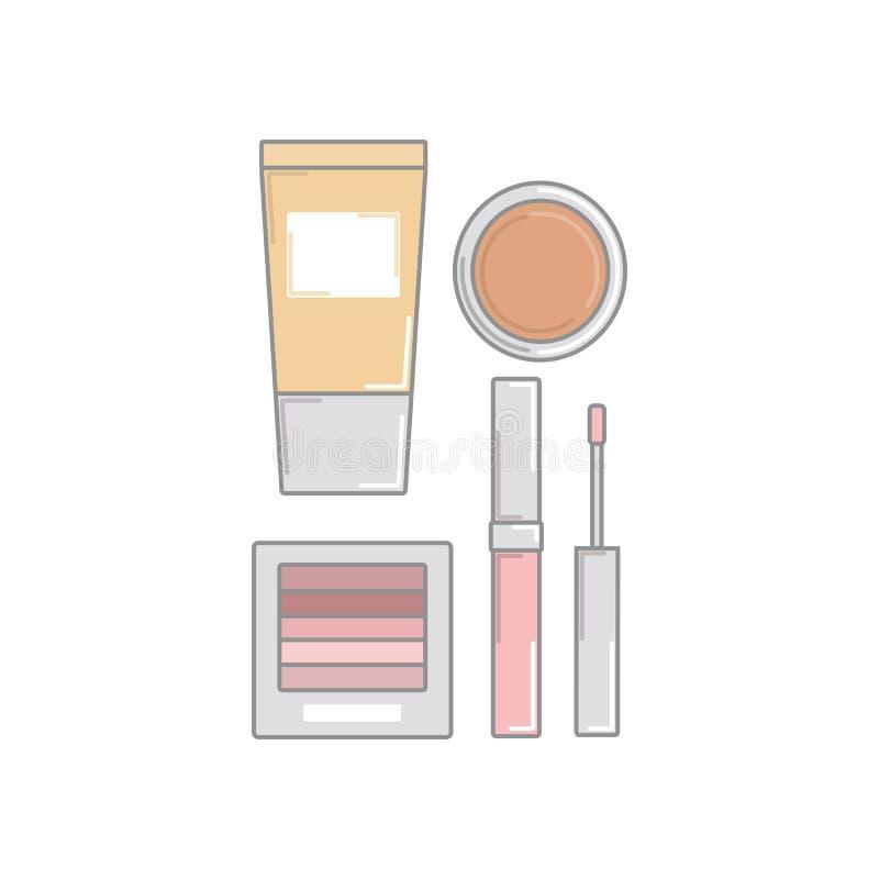учредительство Лоск губы pomade eyeliner Косметика установите для mak иллюстрация штока
