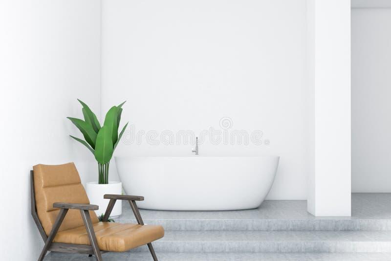 Ушат белой ванной комнаты внутренние, белые и кресло бесплатная иллюстрация