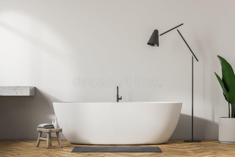 Ушат белой ванной комнаты внутренние, белые и лампа иллюстрация штока