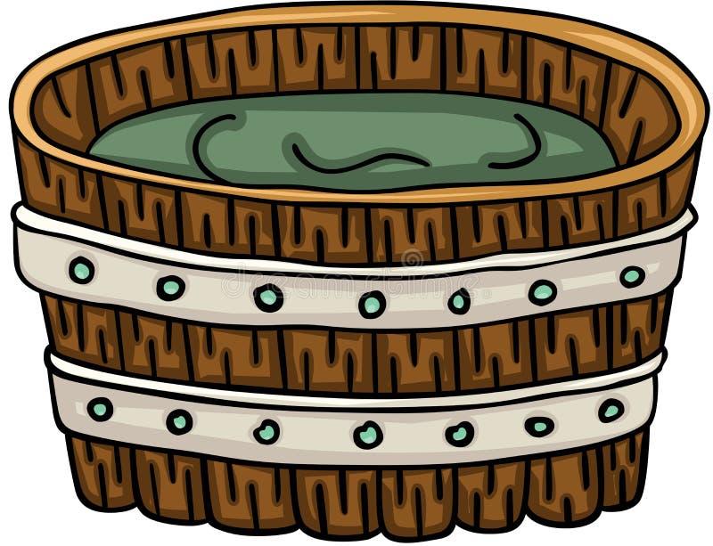 ушат ванны деревянный иллюстрация вектора