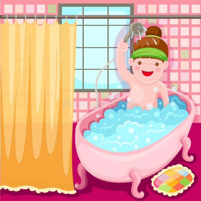 ушат девушки ванны иллюстрация штока