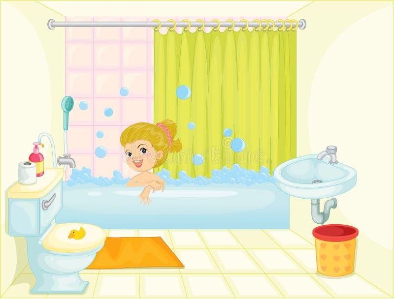 ушат девушки ванны бесплатная иллюстрация