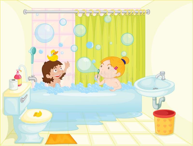 ушат девушки ванны иллюстрация вектора