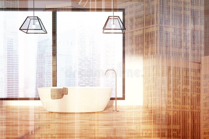 Ушат деревянных стен света ванной комнаты просторной квартиры белый, двойной иллюстрация штока