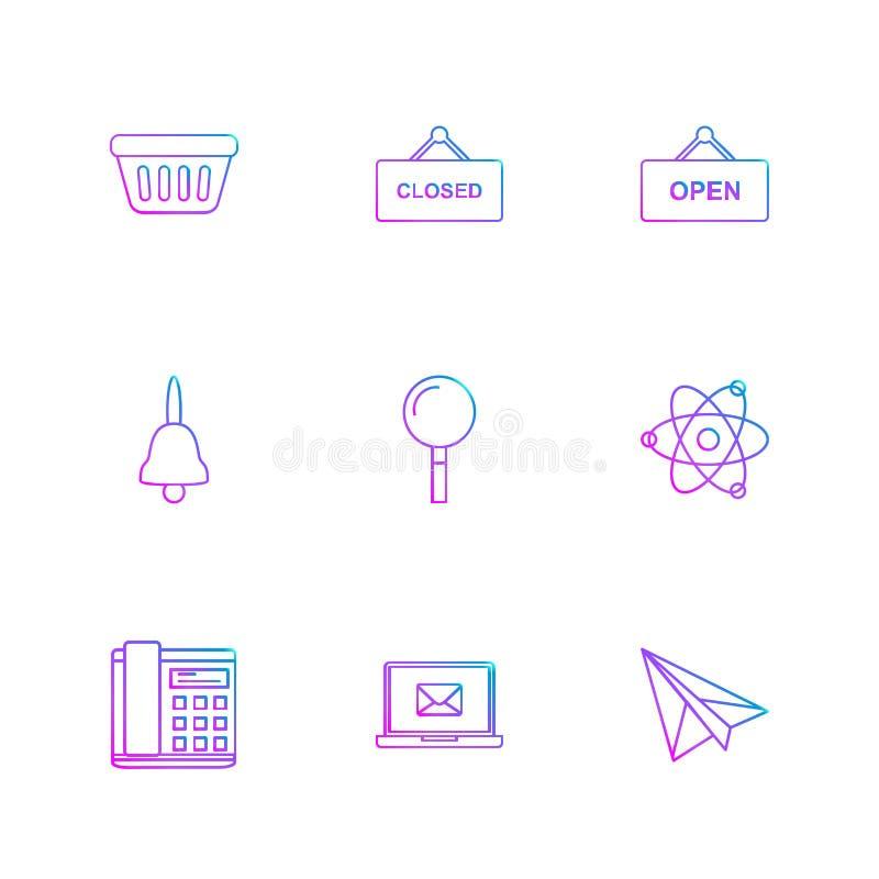 ушат, закрытый, открытый, колокол, поиск, ядерный, телефонирует, складывает иллюстрация вектора