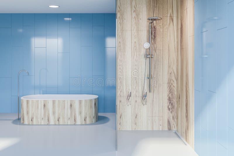 Ушат и ливень в голубом интерьере bathroom иллюстрация штока