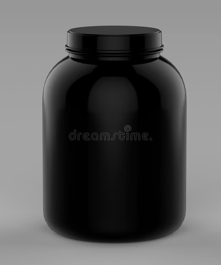 Ушат и опарник контейнера порошка протеина или победителя черного пустого пустого винта верхние передние готовые для ваших ярлыко иллюстрация вектора