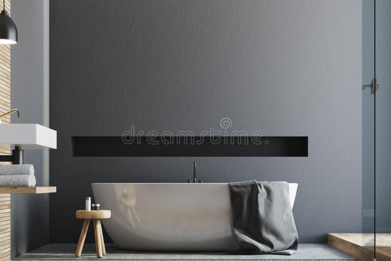 Ушат и раковина серой ванной комнаты белый иллюстрация штока