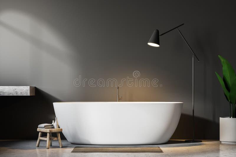 Ушат серой ванной комнаты внутренние, белые и лампа бесплатная иллюстрация