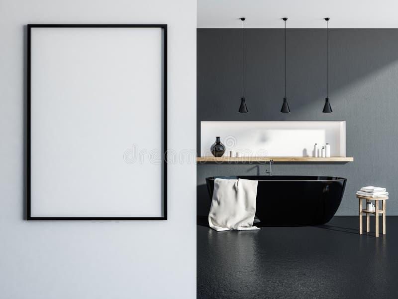 Ушат серой и белой ванной комнаты внутренний черный, плакат бесплатная иллюстрация