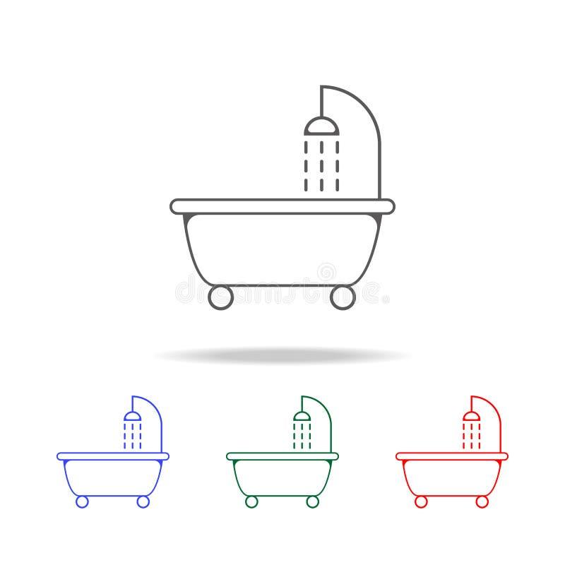ушат с значком ливня Элементы в multi покрашенных значках для передвижных apps концепции и сети Значки для дизайна вебсайта и раз иллюстрация вектора