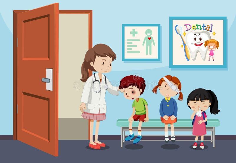 Ушиб детей в больнице иллюстрация штока