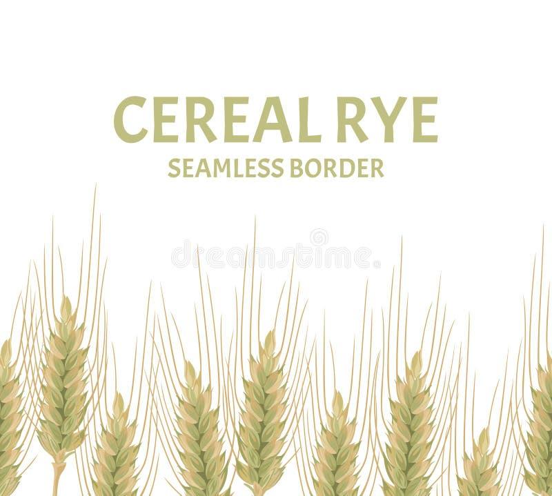 Уши границы хлопьев безшовной Иллюстрация вектора рож, пшеницы или ячменя иллюстрация вектора