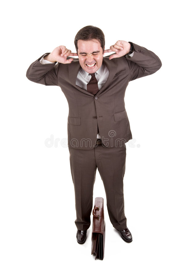 уши заволакивания бизнесмена его стоковое фото