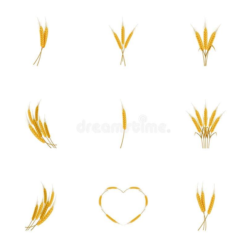 Уши значков хлеба пшеницы установили, стиль шаржа иллюстрация штока