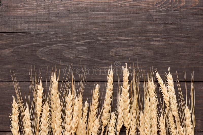 Уши пшеницы на деревянной предпосылке Взгляд сверху стоковое изображение