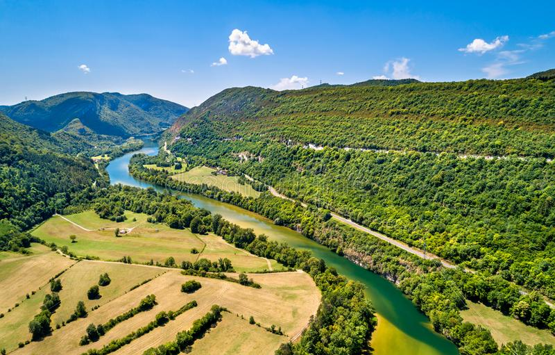 Ущелье Ain реки в Франции стоковое изображение