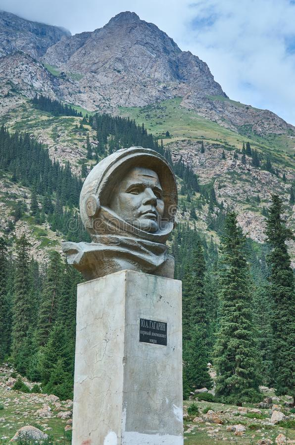 Ущелье Barskoon, каменный Gagarin стоковая фотография