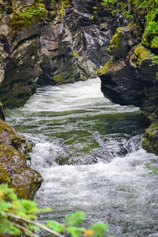 Ущелье Bordalsgjelet, Норвегия, Скандинавия, туризм, это место расположено близко от городка Voss стоковые изображения rf