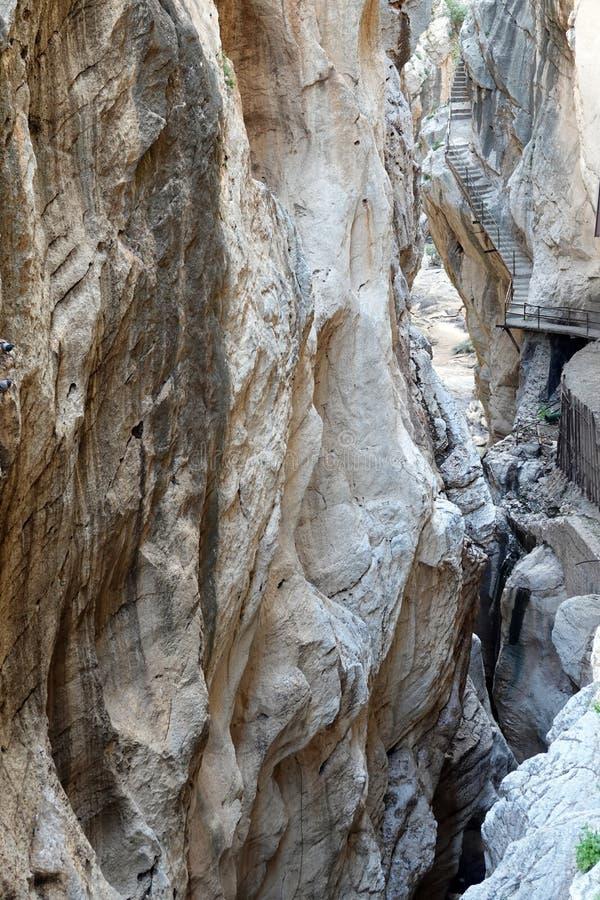 Ущелье Gaitanes на Caminito del Rey в Андалусии, Испании стоковые фотографии rf