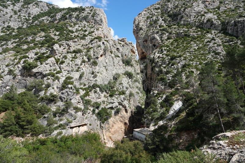 Ущелье Gaitanes Caminito del Rey в Андалусии, Испании стоковые фотографии rf