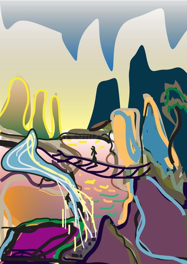 Ущелье Vector_ в горах бесплатная иллюстрация