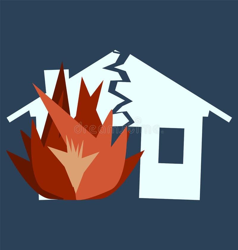 Ущерб от пожара, силуэт сломленного дома иллюстрация штока