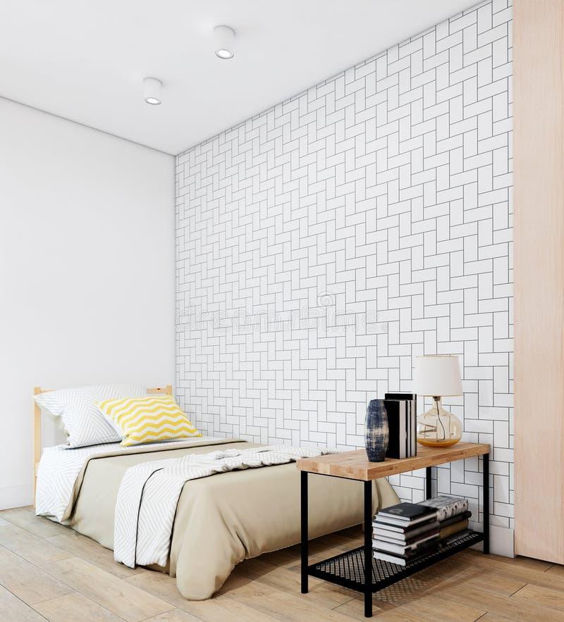 Уютная белая современная спальня внутренняя с мебелью стоковая фотография