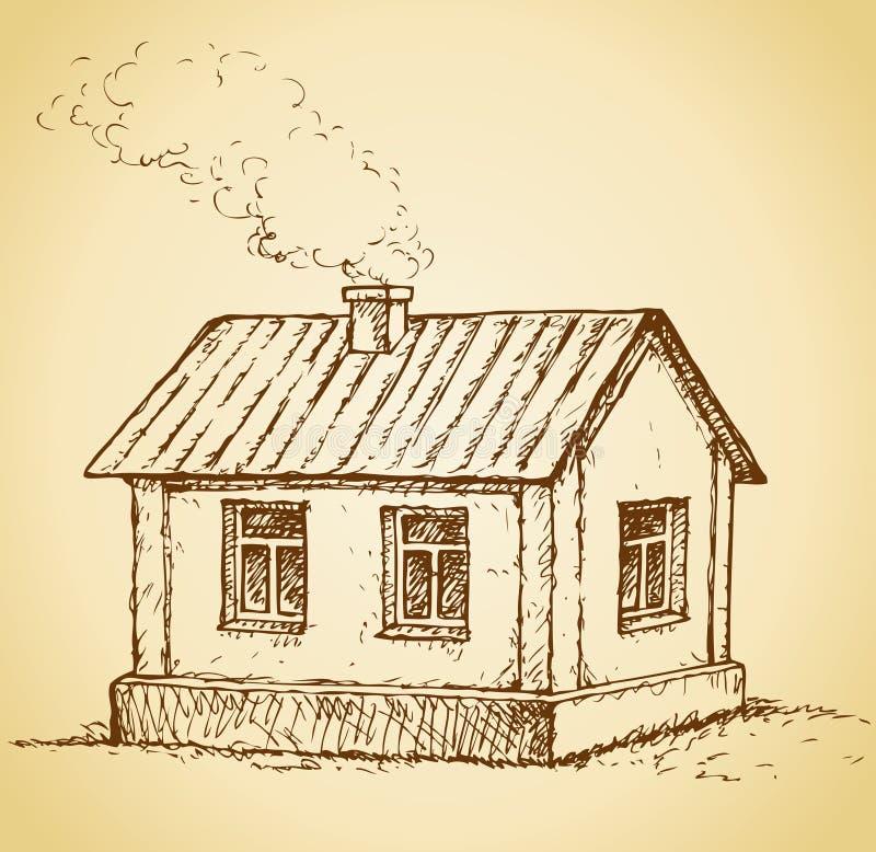 уютная дом немногая Эскиз вектора иллюстрация штока