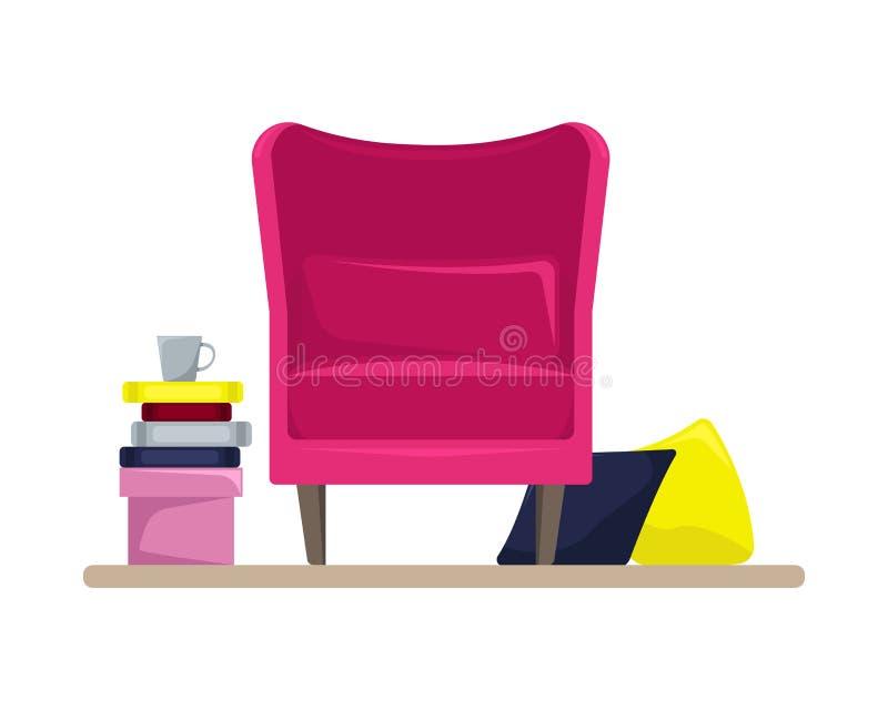 Уютное розовое кресло с подушками и книгами bonita Плоский интерьер бесплатная иллюстрация