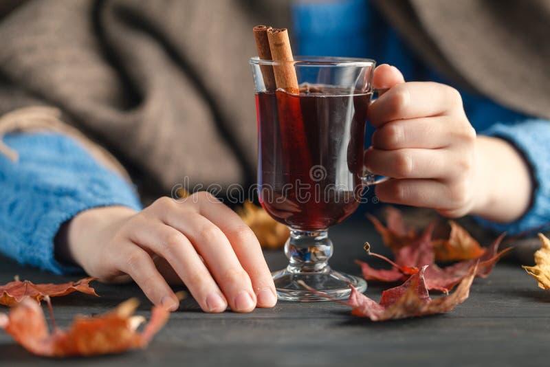 Уютный вечер осени с горячим питьем стоковое изображение rf