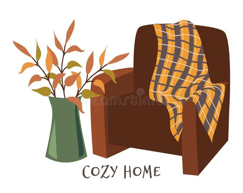 Уютный дом Кресло с платком и ветвями в вазе нарисовано векторное изображение плоского вектора на белом Изображение для дизайна бесплатная иллюстрация