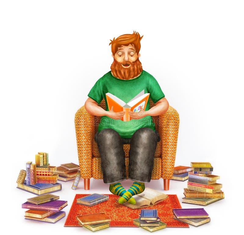 Уютный интерьер живущей комнаты при молодой человек читая книгу в удобном кресле иллюстрация штока