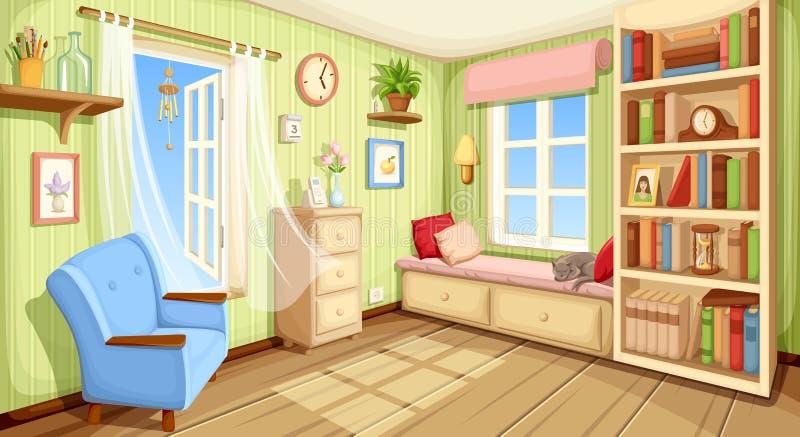 Уютный интерьер комнаты также вектор иллюстрации притяжки corel иллюстрация штока