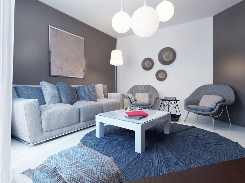 Уютный минималистичный стиль комнаты салона иллюстрация вектора