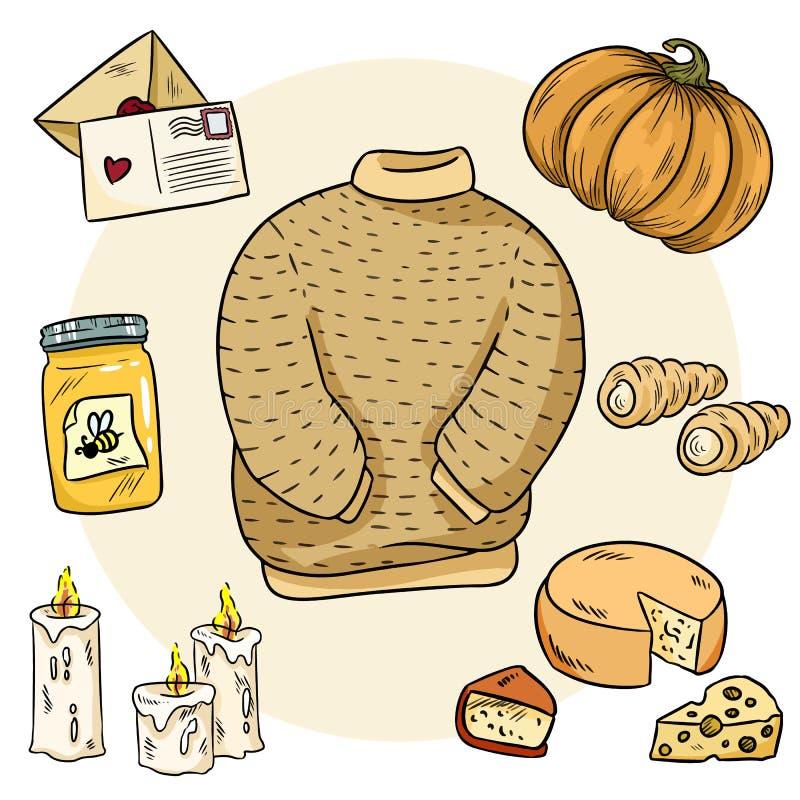 Уютный набор doodles hygge Милые стикеры Собрание уютных деталей иллюстрация штока
