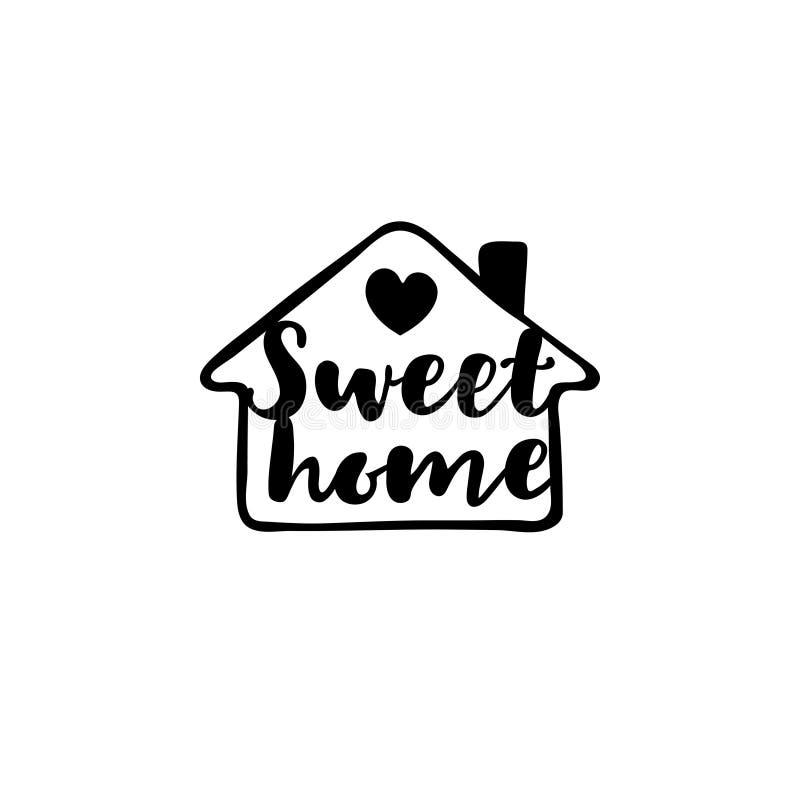 Уютный дом с надписью в стиле чертежа руки Шаблон f иллюстрация штока
