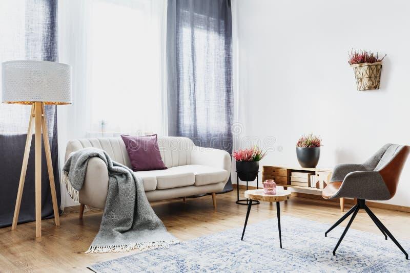 Уютный плоский интерьер с софой стоковые фото